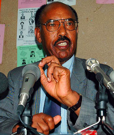 Ethiopian opposition Coalition for Unity and Democracy chairman Hailu Shawel during news conference in Addis Ababa.