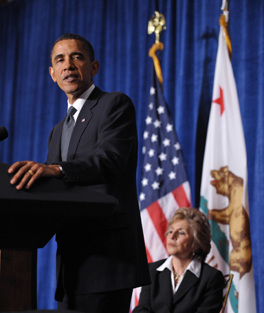 US President Barack Obama speaks at a fundraiser for Senator Barbara Boxer