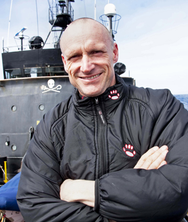 This undated handout obtained from the Sea Shepherd Conservation Society on February 16, 2010 shows New Zealand's Pete Bethune at sea in Antarctic waters