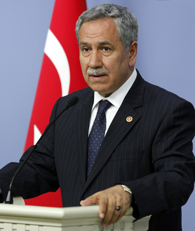 Turkey's Deputy Prime Minister Bulent Arinc addresses the media in Ankara May 31, 2010