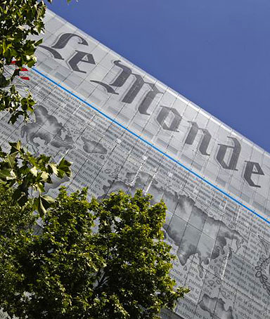 The facade of the daily Le Monde, one of France's most respected newspapers, is seen in Paris June 3, 2010.