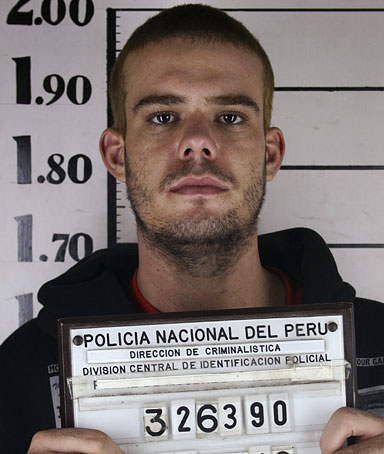 Dutch national Joran Van der Sloot is seen in Lima in this June 11, 2010 handout taken by Peruvian police.