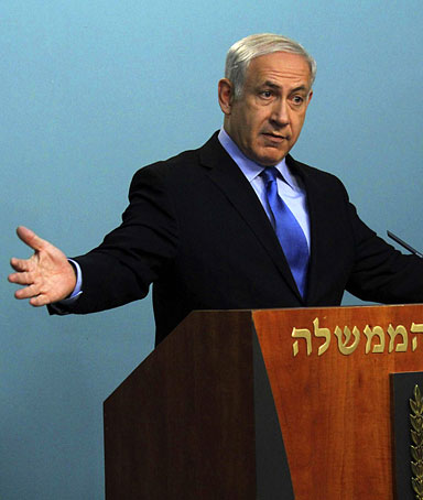 Israeli Prime Minister Benjamin Netanyahu makes a statement concerning the release of abducted Israeli soldier, Gilad Shalit, in his office in Jerusalem July 1, 2010.