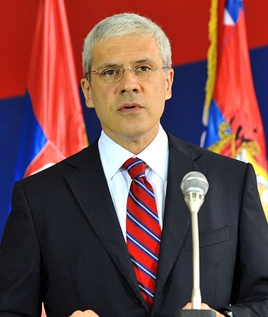 Serbian President Boris Tadic addresses the media in Belgrade, July 22, 2010, shortly after the World Court said Kosovo's 2008 secession did not violate international laws.