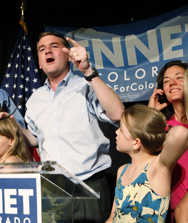 Sen. Michael Bennet, celebrates after winning the Democratic primary on Tuesday, Aug. 10, 2010, in Denver.