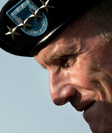 Army Gen. Stanley McChrystal listens during his retirement ceremony