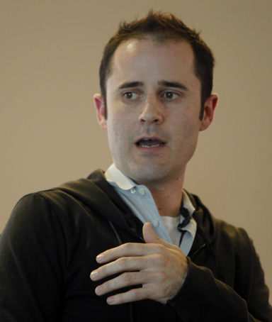 Twitter CEO Evan Williams speaks at a news conference as the website