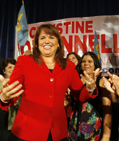 Delaware Republican senatorial candidate Christine O'Donnell celebrates her win in the Republican primary at her campaign victory event in Dover, Delaware, September 14, 2010