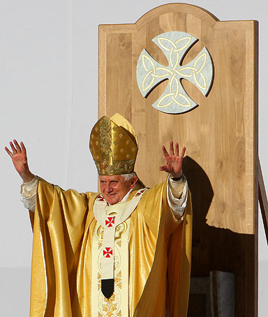Pope Benedict XVI gestures during his Mass at Bellahouston Park, Glasgow, Scotland, Thursday Sept. 16, 2010