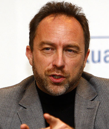 Co-founder and promoter of Wikipedia Jimmy Wales speaks during a press conference at the World Capital Markets Symposium in Kuala Lumpur, Malaysia, Tuesday, Sept. 28, 2010