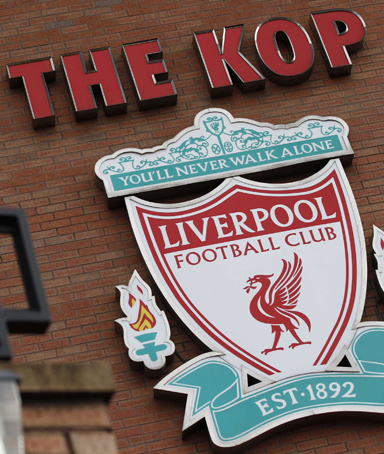 Liverpool's emblem is seen in front of their Anfield stadium in Liverpool, northern England October 6, 2010.
