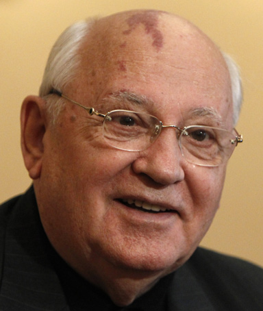 Mikhail Gorbachev, former Soviet leader, speaks during an interview with Reuters in Moscow, June 11, 2010