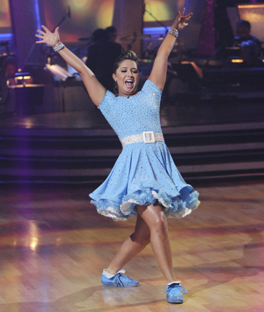 Bristol Palin performs during the ABC reality series 'Dancing with the Stars' finals in Hollywood, November 22, 2010