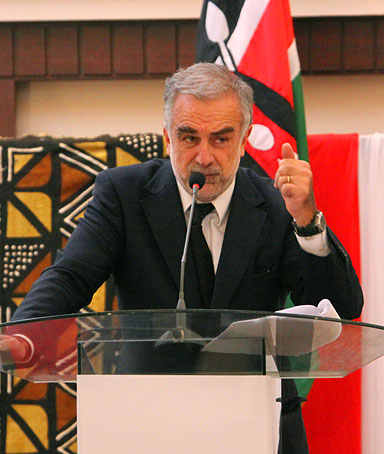 International Criminal Court Prosecutor Luis Moreno Ocampo speaks at a conference to review reforms Kenya is making, in Nairobi, Kenya, Thursday, Dec. 2, 2010