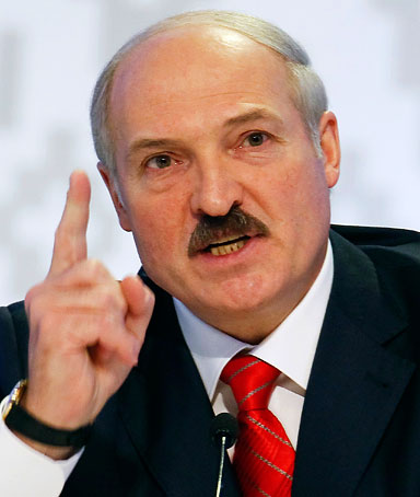 Belarussian President Alexander Lukashenko gestures during a news conference in Minsk, December 20. 2010