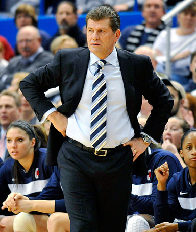 Connecticut coach Geno Auriemma watches his team play Florida State in the first half of an NCAA college basketball game in Hartford, Conn., Tuesday, Dec. 21, 2010