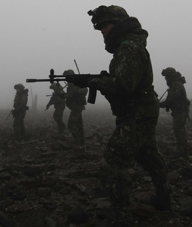 South Korean soldiers patrol a seashore in Dangjin, about 120 km (75 miles) south of Seoul in this picture taken early December 21, 2010 and released on December 22, 2010