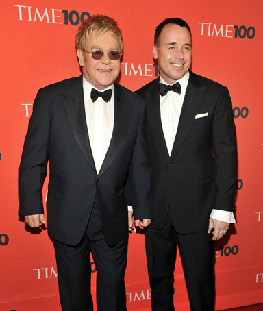Musician Elton John and David Furnish attend Time's 100 most influential people in the world gala at Frederick P. Rose Hall, Jazz at Lincoln Center on May 4, 2010 in New York City