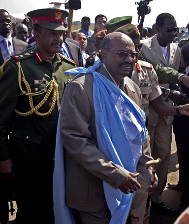 Omar al-Bashir, the President of the Republic of Sudan arrives at the airport in the southern Sudanese capital of Juba on Tuesday, Jan. 4, 2011