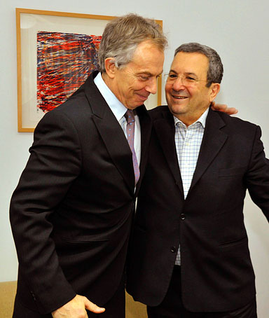 Israeli Defense Minister Ehud Barak meets with the Middle East Quartet envoy Tony Blair at, the Knesset on January 3, 2011 in Jerusalem Israel