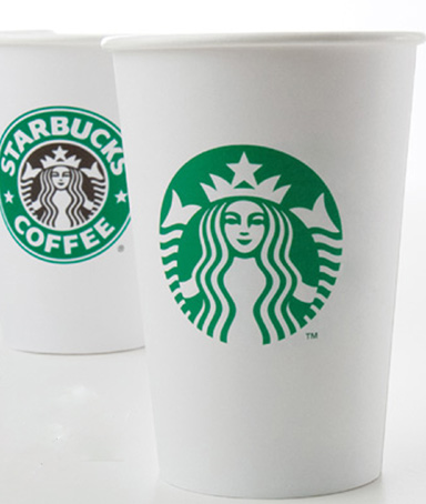 changes to the Starbucks logo are shown in this handout image