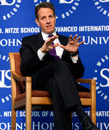 Timothy Geithner, U.S. treasury secretary, speaks about the U.S.-China economic relationship at an event in Washington, D.C., U.S., on Wednesday, Jan. 12, 2011