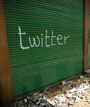 A shop in Tahrir Square is spray painted with the word Twitter after the government shut off internet access on February 4, 2011 in Cairo, Egypt.