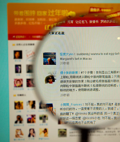 The Sina Corp. Weibo micro blogging website is displayed on a computer in Beijing, China, on Wednesday, Feb. 16, 2011.