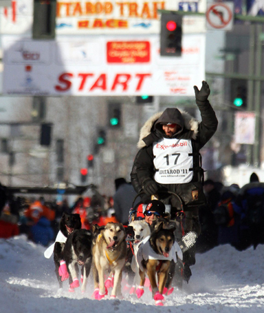 Defending champion Lance Mackey drives his dog team from the starting line of the ceremonial start of the Iditarod Trail Sled Dog Race in Anchorage, Alaska March 5, 2011