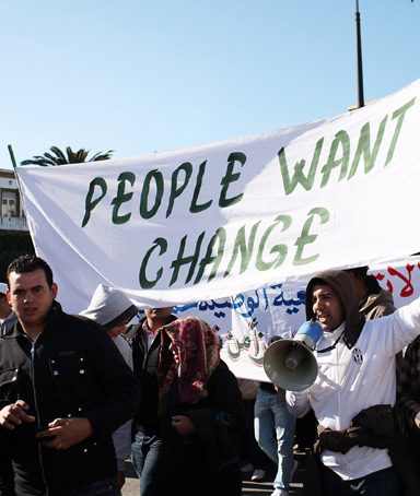 Thousands of Moroccans demonstrate against the regime led by King Mohammed VI on February 20, 2011 in Rabat, Morocco