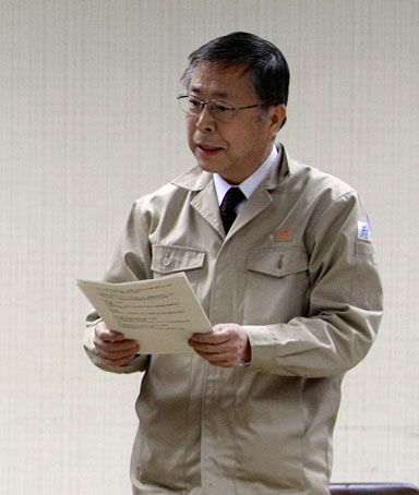 Fukushima Gov. Yuhei Sato explains the current difficulties in handling the tens of thousands of evacuees from possibly radiation affected areas around the Fukushima nuclear facilities, Wednesday, March 16, 2011, in Fukushima, Japan.