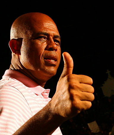 Haitian presidential candidate Michel Martelly greets supporters in the Petionville suburb of Port-au-Prince on March  16, 2011.