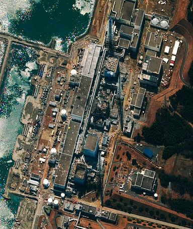 This satellite image of the Fukushima Daiichi Power Plant in Japan, taken by DigitalGlobe on March 17, shows damage to the Units 1, 3, and 4 reactor buildings.