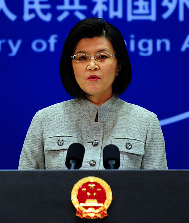 Chinese foreign ministry spokeswoman Jiang Yu responds to questions during a press briefing in Beijing on March 22, 2011