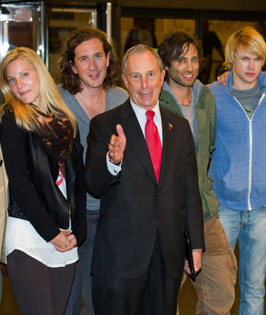 New York Mayor Michael Bloomberg appears at a press conference with cast members from the television show