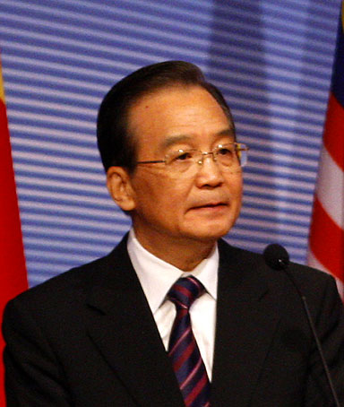 Chinese Premier Wen Jiabao speaks during the Malaysia-China Economic, Trade and Investment Cooperation Forum in Kuala Lumpur, Malaysia, Thursday, April 28, 2011.