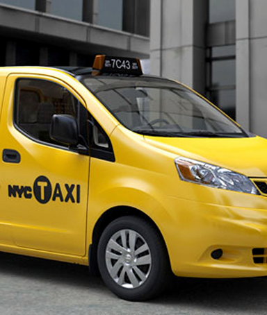 In this handout image provided by the City of New York, a Nissan NV200 is seen as a New York City taxi cab in New York City.