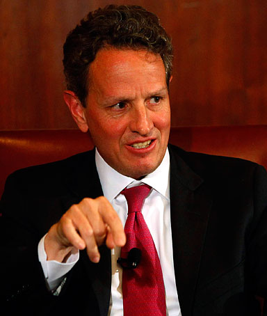 U.S. Treasury Secretary Timothy Geithner speaks at the Harvard Club in New York  May 17, 2011.