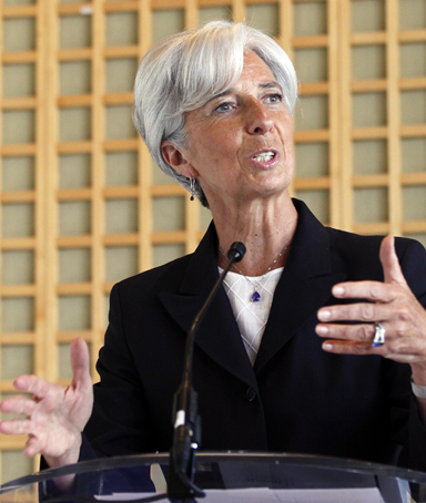 France's Finance Minister Christine Lagarde announces her candidacy to head the IMF during a press conference in Paris, May 25, 2011