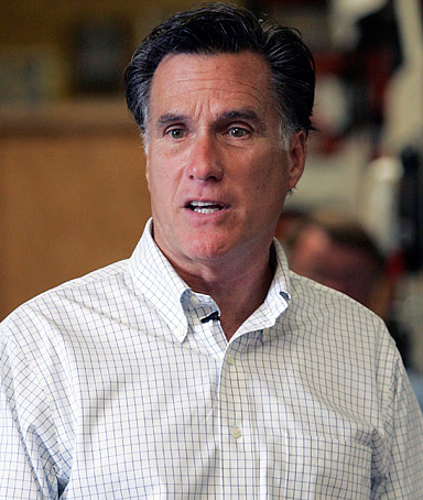 Presidential hopeful and former Massachusetts Gov. Mitt Romney speaks  to a group of small business owners on the economy during a visit to Meetze plumbing in Irmo, S.C. Saturday May, 21, 2011.
