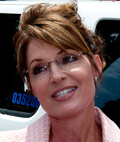 Sarah Palin speaks with the press outside the Liberty Bell Center during her