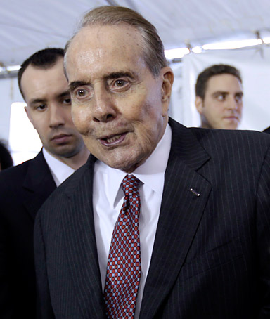 Former Senate Majority Leader Bob Dole at the WWII Memorial in Washington, Tuesday, April 12, 2011.