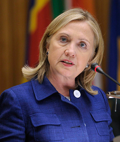 US Secretary of State Hillary Clinton addresses the African Union Commission in Addis Ababa, Ethiopia, June 13, 2011.