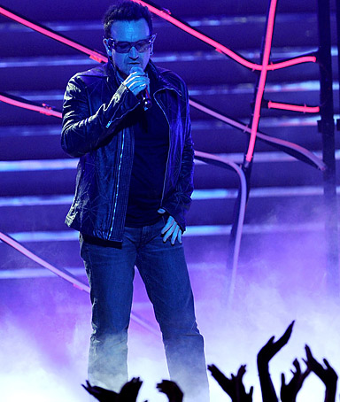 Bono performs at the Nokia Theatre in Los Angeles, California on May 25, 2011.