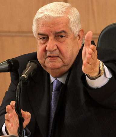 Syrian Foreign Minister Walid Muallem at a press conference in Damascus on June 22, 2011.
