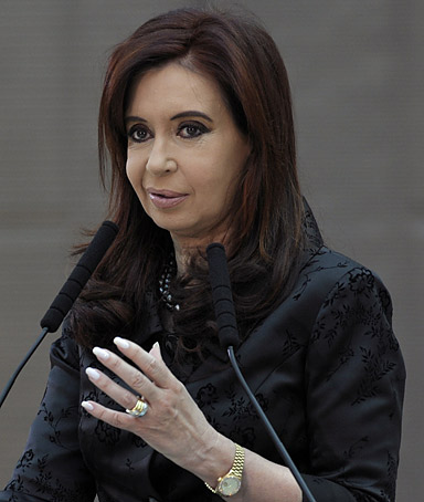 Argentine President Cristina Fernandez de Kirchner delivers a speech at the Government Palace in Buenos Aires on June 13, 2011.