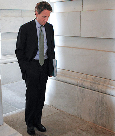 Treasury Secretary Tim Geithner at the Capitol in Washington.