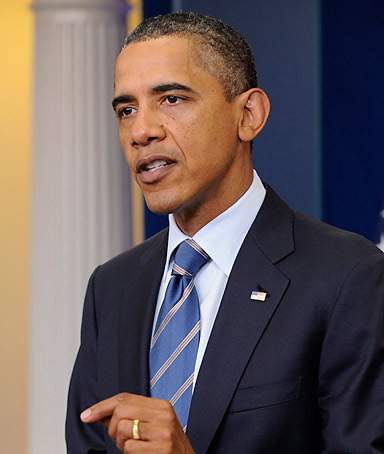 US President Barack Obama delivers remarks to members of the news media, at the White House in Washington DC, USA, 07 July 2011.