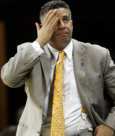 Tennessee head coach Bruce Pearl reacts during the second half of an NCAA East Regional basketball semifinal against Louisville.