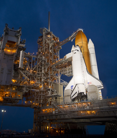The space shuttle Atlantis is seen shortly after the rotating service structure (RSS) was rolled back at launch pad 39a on July 7, 2011 at the NASA Kennedy Space Center in Cape Canaveral, Florida.